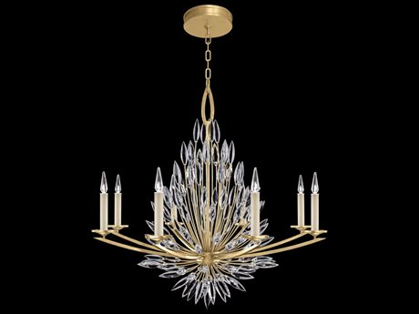 Fine Art Lamps Lily Buds Gold Leaf with Faceted Crystal Eight-Light 41'' Wide Chandelier FA8812401ST