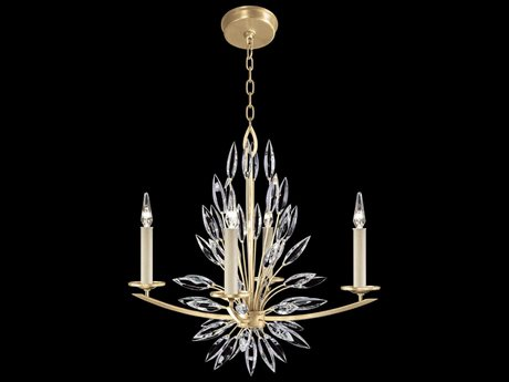 Fine Art Lamps Lily Buds Gold Leaf with Faceted Crystal Four-Light 27'' Wide Chandelier FA8834401ST