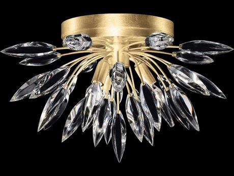 Fine Art Lamps Lily Buds Gold Leaf with Faceted Crystal Three-Light 19'' Wide Flush Mount FA8814401ST