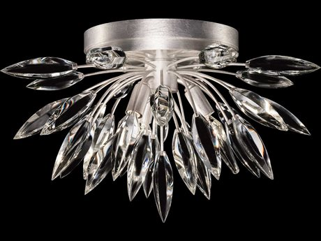 Fine Art Lamp Lily Buds Silver Leaf Three-Light 18.5'' Wide Flush Mount Light FA881440ST