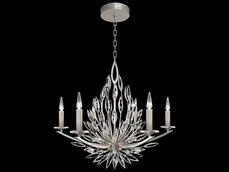 Fine Art Lamp Lily Buds Silver Leaf Six-Light 34'' Wide Grand Chandelier FA881140ST