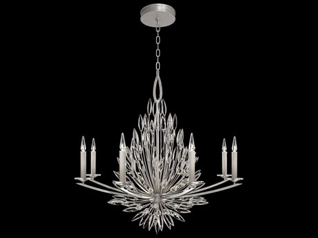 Fine Art Lamp Lily Buds Silver Leaf Eight-Light 41'' Wide Grand Chandelier FA881240ST