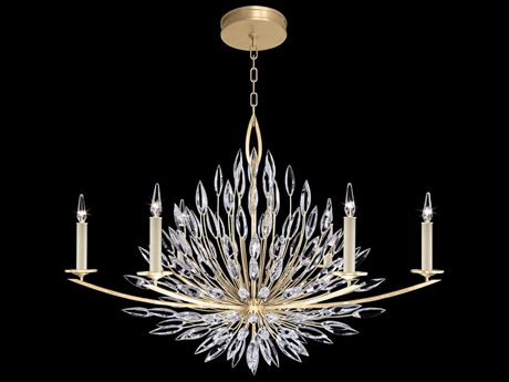 Fine Art Lamps Lily Buds Gold Leaf with Faceted Crystal Six-Light 48'' Wide Grand Chandelier FA8832401ST