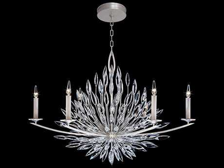 Fine Art Lamps Lily Buds Silver Six-Light 48'' Wide Grand Chandelier FA883240ST