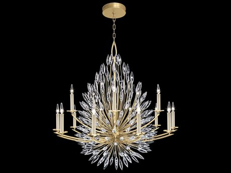 Fine Art Lamps Lily Buds Gold Leaf with Faceted Crystal 15-Light 50'' Wide Grand Chandelier FA8833401ST