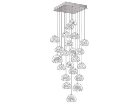 Fine Art Lamps Natural Inspirations Led Silver 24'' Wide Glass LED Pendant