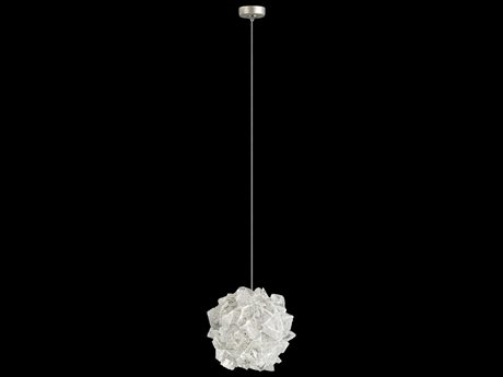 Fine Art Lamps Natural Inspirations Gold Tone Silver Leaf with Large Hailstones Glass 4'' Wide Mini Pendant Light