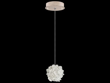 Fine Art Lamps Natural Inspirations Gold Tone Silver Leaf with Large Hailstones Glass 5.5'' Wide Mini Pendant Light