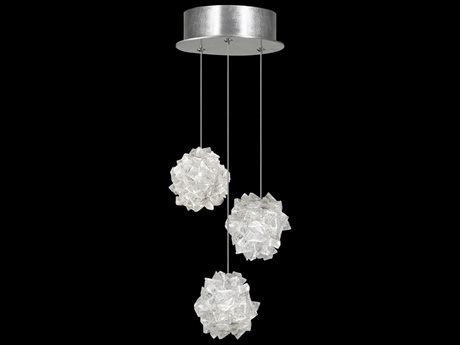 Fine Art Lamps Natural Inspirations Platinized Silver Leaf with Large Hailstones Glass Three-Lights 9'' Wide Mini Pendant Light