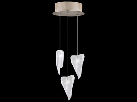 Fine Art Lamps Natural Inspirations Gold with Glacial Fragments Glass Three-Light 9'' Wide Mini-Pendant Light