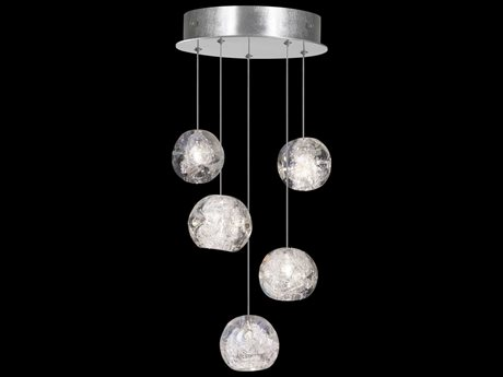 Fine Art Lamps Natural Inspirations Silver with Nebula Glass Five-Light 12'' Wide Pendant Light