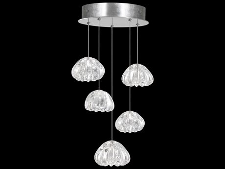 Fine Art Lamps Natural Inspirations Silver with Clearwater Glass Five-Light 12'' Wide Pendant Light