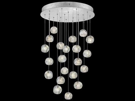 Fine Art Lamps Natural Inspirations Silver with Nebula Glass 22-Light 24'' Wide Pendant Light