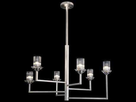 Fine Art Lamp Neuilly Platinized Silver Leaf Six-Light 36'' Wide Chandelier FA8796401ST