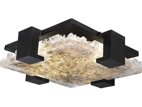 Fine Art Lamps Terra Black 16'' Wide Glass LED Flush Mount Light FA89544012ST