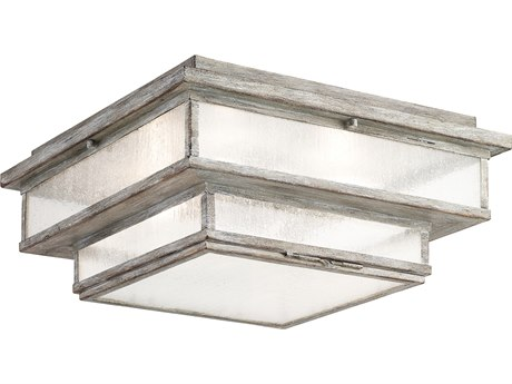 Fine Art Lamps Wiltshire Weathered Grey Four-Light 16'' Wide Outdoor Flush Mount FA887382ST