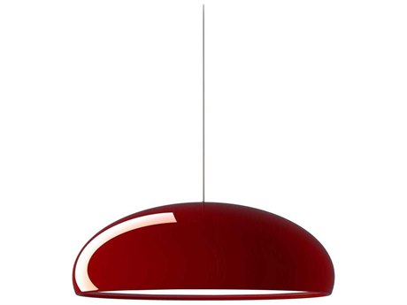 Fontana Arte Pangen Red Three-Lights 24'' Wide Pendant Light