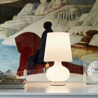 Fontana Arte Fontana Frosted White Blown Glass Table Lamp FONU1853