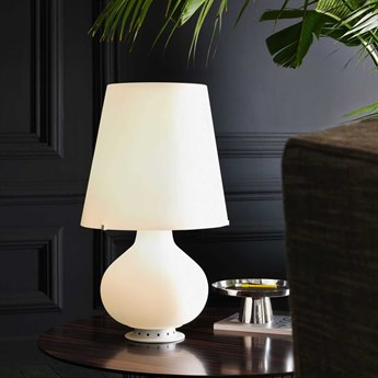 Fontana Arte Fontana Frosted White Blown Glass Table Lamp FONU1853LED