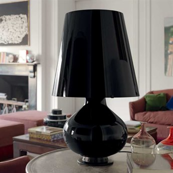 Fontana Arte Fontana Black Blown Glass Table Lamp FONU1853N