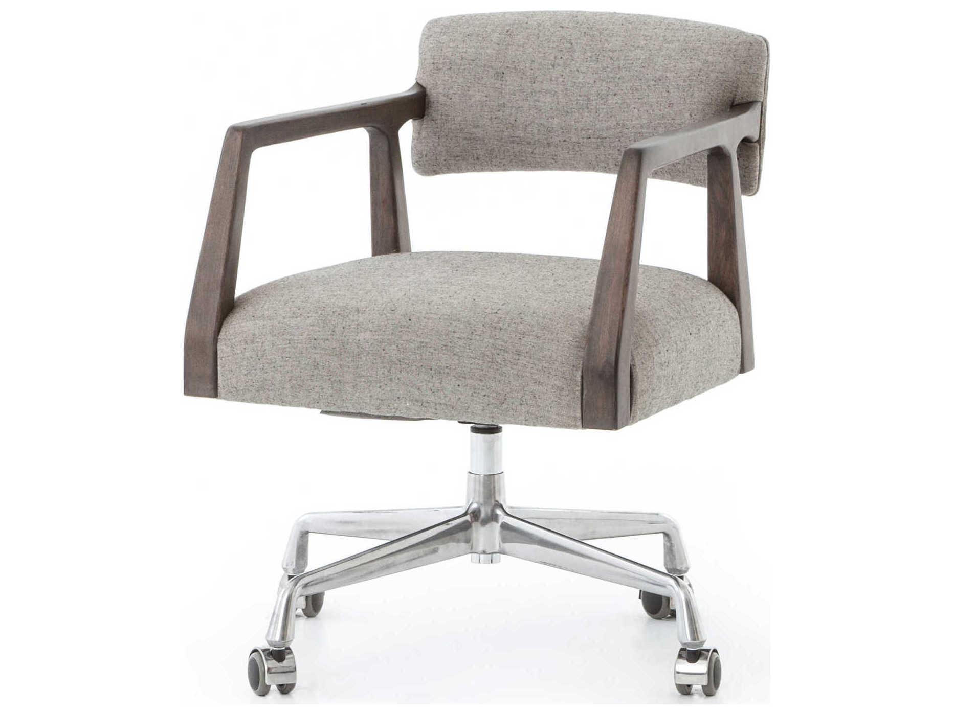 Four Hands Abbott Burnt Nettlewood Ives White Grey Stainless Steel Computer Chair