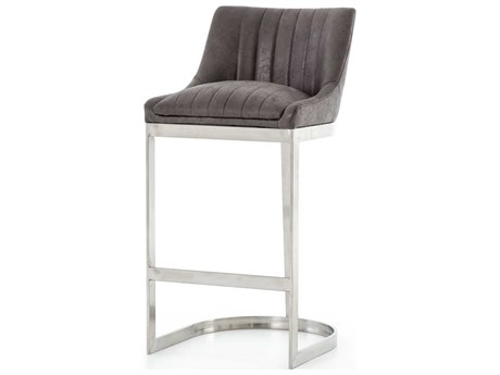 Four Hands Ashford Vintage Graphite / Brushed Stainless Side Bar Height Stool
