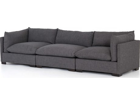 Four Hands Atelier Espresso / Bennett Charcoal Sofa Couch