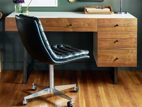 Four Hands Barton White Lacquer & Walnut 60 x 28 Tucker Desk
