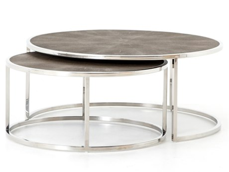 Four Hands Bentley Stainless Steel / Brown Shagreen 38'' Wide Round Coffee Table Nesting FSVBEN018B