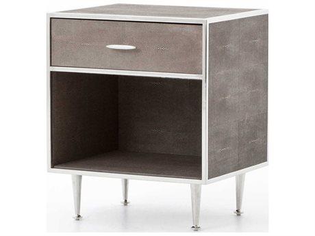 Four Hands Bentley Stainless Steel / Brown Shagreen 1 Drawer Nightstand