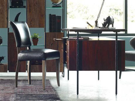 Four Hands Bina Warm Brown Acacia / Natural Peroba Black And Silver Metal Executive Desk FSVBNADK815SET