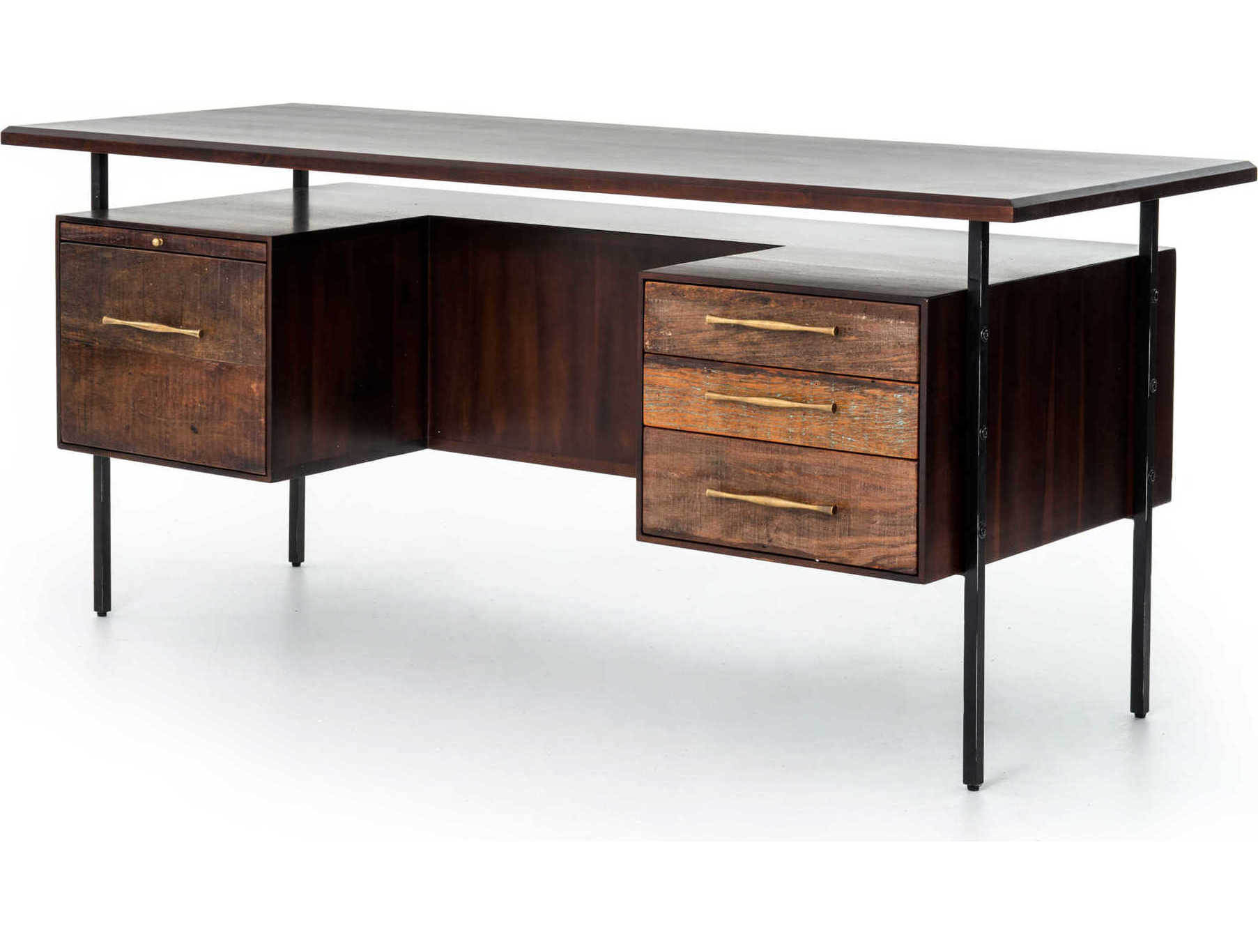 Rustic Americana Hardwood Executive Desk Home Office: Four Hands Bina Warm Brown Acacia / Natural Peroba Black