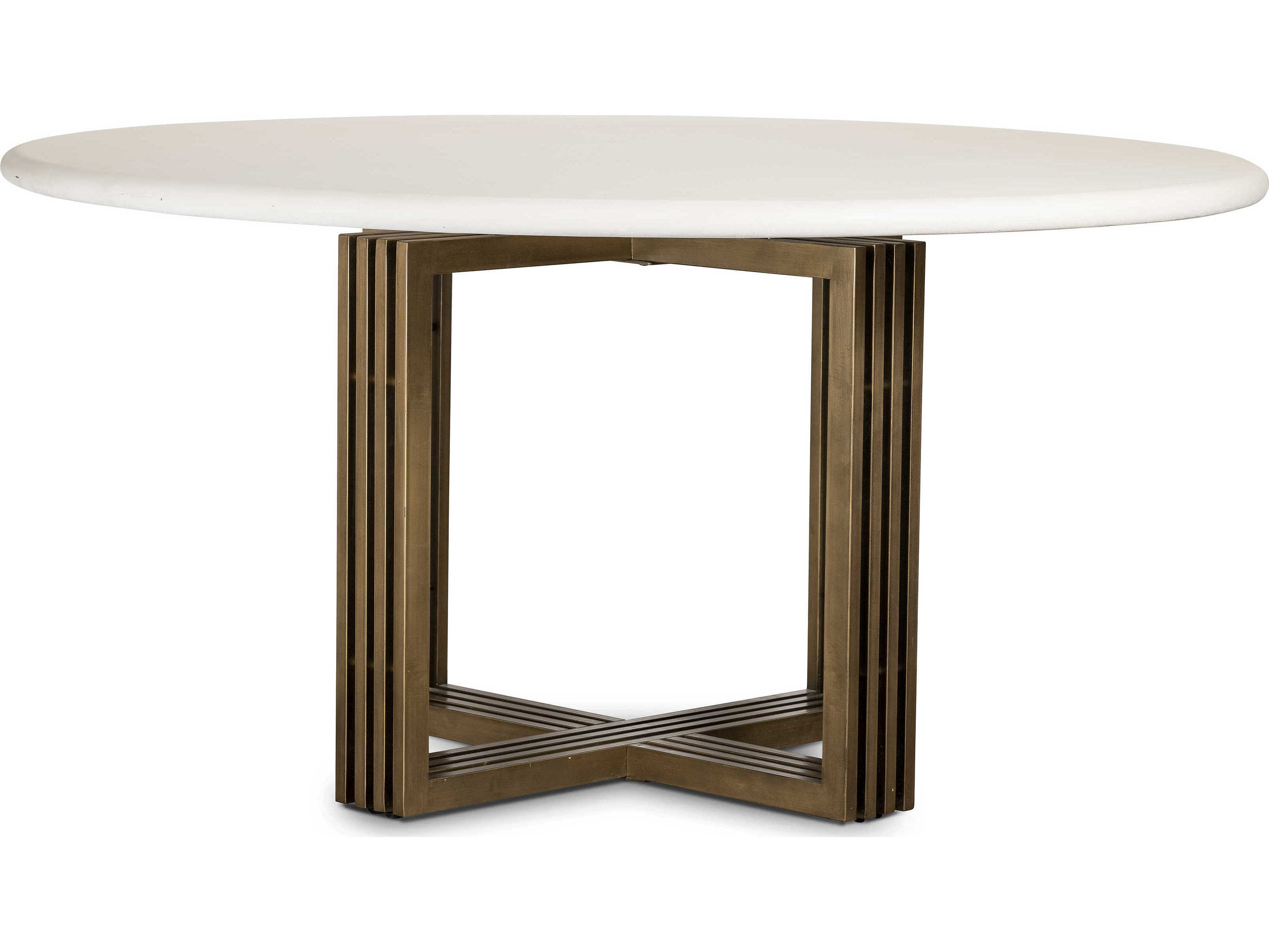Enjoyable Four Hands Everett Antique Brass Parchment White 60 Wide Round Dining Table Gmtry Best Dining Table And Chair Ideas Images Gmtryco