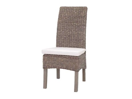 Four Hands Grass Roots Grey Wash Banana Leaf Accent Chair With Cushion