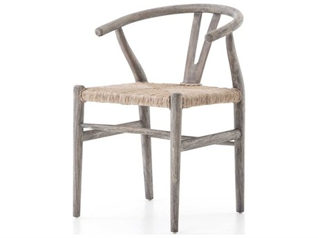 Four Hands Grass Roots Weathered Grey Teak / Vintage White Arm Dining Chair