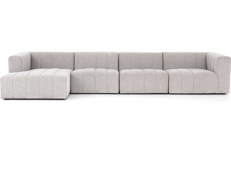 Four Hands Grayson Napa Sandstone / Burnt Umber Four-Piece Sectional Sofa with Left Arm Facing Chaise