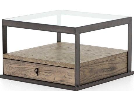Four Hands Hadley Monument Grey Oak Veneer / Banded Gunmetal 26'' Wide Square Coffee Table FSVHAD011