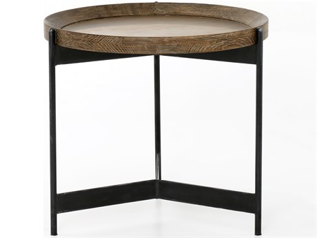 Four Hands Hughes Powder Black / Bright Brass Clad Light Burnt Oak 21'' Wide Round End Table