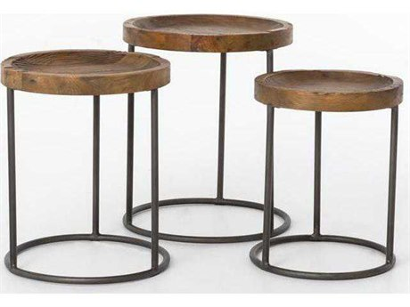 Four Hands Hughes Wood 20'' Round Tristan Nesting Tables FSCIMP6JBP