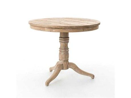 Four Hands Hughes 35 Round Whitewash Occasional Pedestal Table FSCIMP42WW