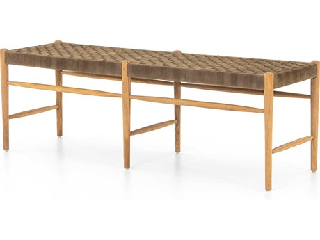 Four Hands Irondale Clear Drift Soap / Coffee Suede Accent Bench