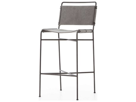 Four Hands Irondale Stonewash Grey / Waxed Black Side Bar Height Stool