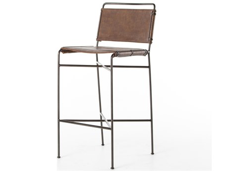 Four Hands Irondale Distressed Brown / Waxed Black Side Bar Height Stool