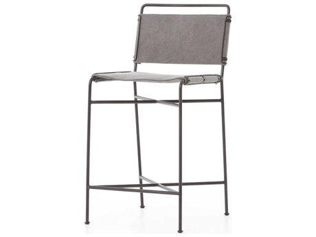 Four Hands Irondale Stonewash Grey / Waxed Black Side Counter Height Stool