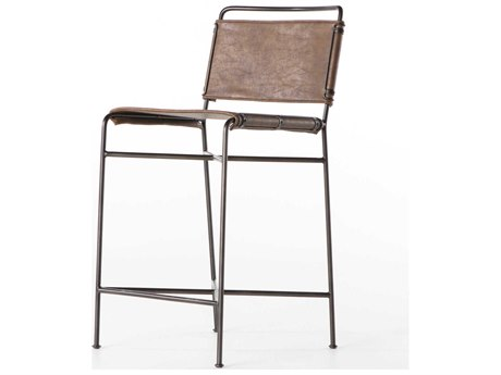 Four Hands Irondale Distressed Brown / Waxed Black Side Counter Height Stool FSCIRD155926