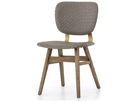 Four Hands Irondale Bright Brass / Honey Grey Oak Embossed Side Dining Chair