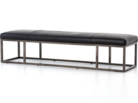 Four Hands Kensington Rider Black / Gunmetal Accent Bench