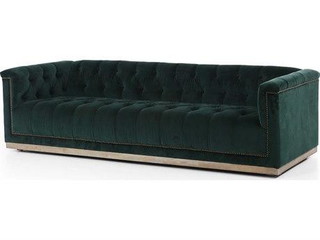 Four Hands Kensington Whitewash / Sapphire Marine Aged Bronze Nailhead Sofa Couch FSCKENK3Z571