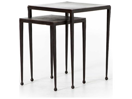 Four Hands Marlow Antique Brown / Rust 16'' Wide Square Nesting Table