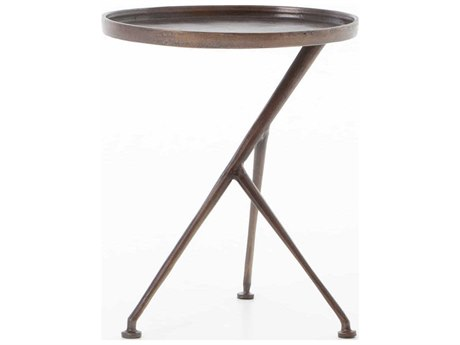 Four Hands Marlow Antique Rust 18'' Wide Oval End Table